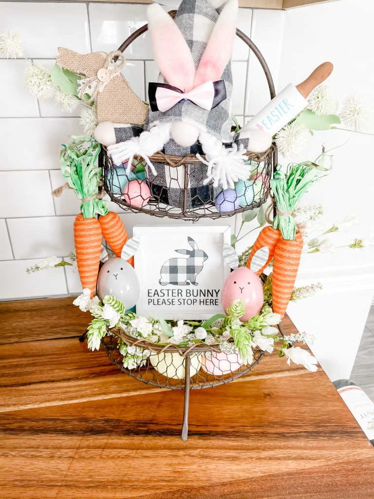 Easter tiered tray styling